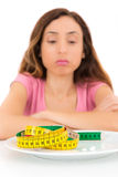 Weight loss woman unhappy. Weight loss woman and a plate filled with measurement belt and supplements. Focus on the plate. Isolated on white background stock photo