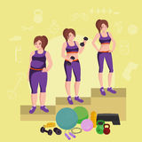 Before and after weight loss women concept fitness vector illustration Stock Photos