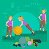 Before and after weight loss women concept fitness vector illustration Stock Image
