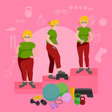 Before and after weight loss women concept fitness vector illustration Royalty Free Stock Photos