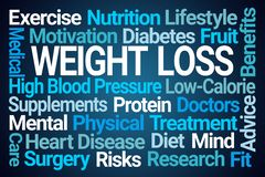Weight Loss Word Cloud. On Blue Background stock illustration