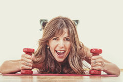Weight loss young woman at gym Stock Photos