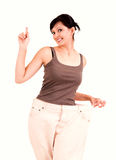 Weight lost woman pointing up Royalty Free Stock Photos