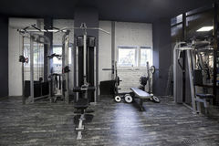 Weight machines in a gym Stock Photo
