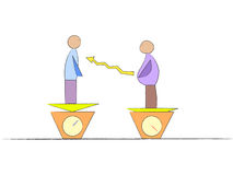 Weight Management. A vector illustration of two men of different weight standing on two scales visualing the importance and transition of weight loss Vector Illustration