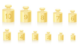Weight Masses Gold Scale. Golden weight masses for gold scale - set from one to ten, plus a half unit - isolated vector illustration on white background Stock Images