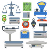 Weight measurement instrumentation tools vector illustration. Flat decorative icons set of weight scales tools isolated vector illustration. Measurement stock illustration