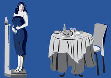 Weight problems. Illustration of a women meassiring on scale, looking back on table with planty of food Stock Image