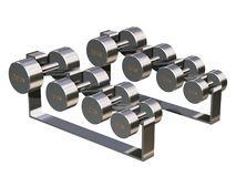 Weight Rack. Shiny weights and rack Stock Photo