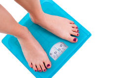 Weight Scale. Woman on weight scale on isolated background stock photo