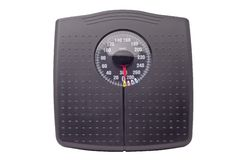 Weight scale. Black weight scale isolated on white background Stock Image