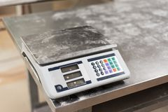 Weight scale in the bakery royalty free stock photos