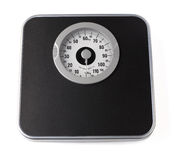 Weight scale. Bathroom weight scale isolated on a white background royalty free stock images
