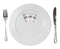 Weight scale dish. White plate with weight scale Stock Photography