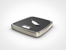 Weight scale with feather. Perspective view of weight scale with feather Royalty Free Stock Photography