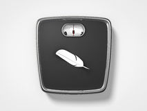 Weight scale with feather. Top view of weight scale with feather Royalty Free Stock Photo