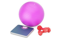 Weight scale with fitness dumbbells and fitball, 3D rendering. On white background Royalty Free Stock Image