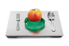 Weight scale and fruits Royalty Free Stock Photography