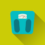 Weight scale icon. Weight scale, floor scales- sport icon.Concept of active lifestyle, victory, achievement, goal. Flat design with long shadow. Vector Stock Photo