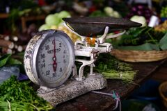 Weight scale at the local Antigua market royalty free stock images