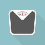 Weight scale with long shadow. Bathroom scales icon with long shadows. Vector illustration in modern flat style. EPS 10 vector illustration
