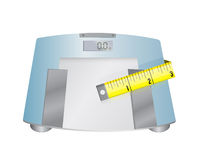 Weight scale and measure tape illustration Stock Images