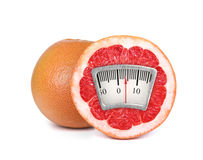 Weight scale on an orange Stock Photo