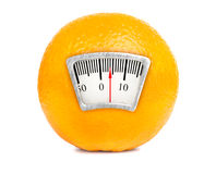 Weight scale on an orange Stock Photography