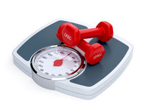 Weight scale with red dumbbells. 3d render of weight scale with red dumbbells isolated on white background Royalty Free Stock Photos