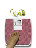 Weight scale and sewing tape measure Royalty Free Stock Photos