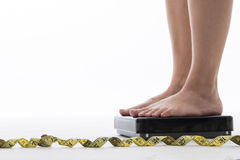 Weight scale ,woman measure weightloss with isolated Stock Photos
