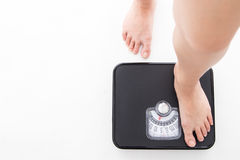 Weight scale ,woman measure weightloss Royalty Free Stock Photo