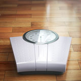 Weight scale on the wooden floor. Space for text. Royalty Free Stock Photo