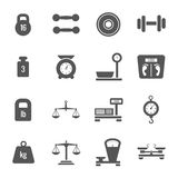 Weight scales, balance, heavy luggage, kilogram vector icons Royalty Free Stock Photos