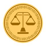 Weight Scales golden digital coin icon. gold yellow flat coin cryptocurrency symbol. Coin isolated on white. Eps 10.  Stock Photography