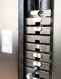 Weight selector in gym equipment Stock Photography