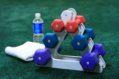 Weight Set. With towel and water bottle in the background Stock Photo