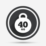 Weight sign icon. 40 kilogram kg. Sport symbol. Royalty Free Stock Photos