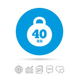 Weight sign icon. 40 kilogram kg. Sport symbol. Stock Images