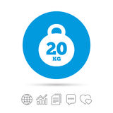 Weight sign icon. 20 kilogram kg. Sport symbol. Royalty Free Stock Photo