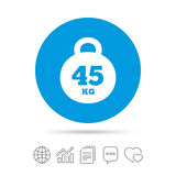 Weight sign icon. 45 kilogram kg. Sport symbol. Royalty Free Stock Image