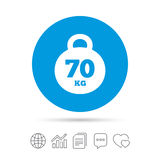 Weight sign icon. 70 kilogram kg. Sport symbol. Stock Images