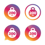 Weight sign icon. 200 kilogram. Sport symbol. Weight sign icon. 200 kilogram (kg). Sport symbol. Fitness. Gradient buttons with flat icon. Speech bubble sign Stock Photography