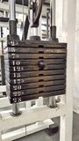 Weight stack scale - gym equipment Royalty Free Stock Photography