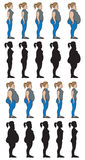 Weight stages female. Images of woman going from normal weight to obese, also in silhouette and reversed Royalty Free Stock Image