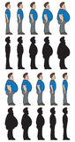 Weight stages. Image of man going from thin to chubby and then from chubby to thin. Also in silhouette Royalty Free Stock Image