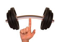 Weight (Super Finger). Lifting the weight by super finger. The image is over white Royalty Free Stock Images
