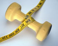 Weight tape measure. On white surface Stock Photos