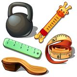 Weight, thermometer, measuring tape, ruler and wooden shoe. Set of five items isolated on white. Vector in cartoon style Royalty Free Stock Photos
