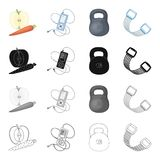 Weight training, apple and carrot, music player, expander. Training and gym set collection icons in cartoon black Stock Images